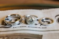Bride and groom eternity band and rings