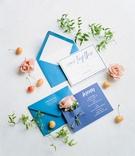 bridal shower invitation and menu card blue pink flowers cherries white calligraphy modern design