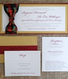 Holiday wedding invitation suite in gold with red border, plaid bow in green, red, gold, Sweet Jane
