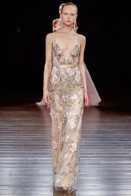 Naeem Khan sheath flower print wedding dress spaghetti strap low v neck plunging Kyoto halter