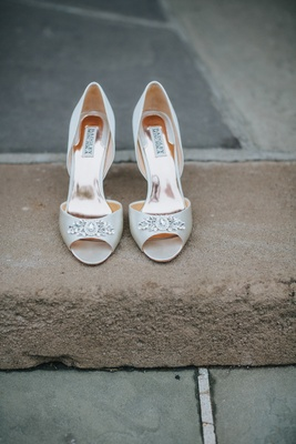 badgley mischka wedding shoes, white peep-toe heels with crystal detailing