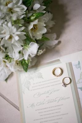 Light green and gold garden wedding invite