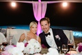 Wedding reception for Barbie Blank and Sheldon Souray pink lighting headpiece bow tie boutonniere oc