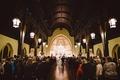 Wedding at North Carolina church in Charlotte lanterns high ceilings wood