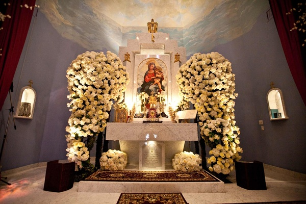 Armenian church altar decorated with white roses