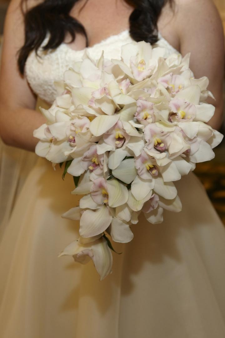 White orchid with light pink center flower bouquet