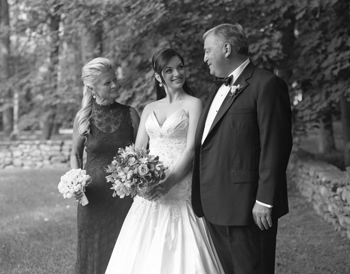 Black and white photo of bride with mother of bride