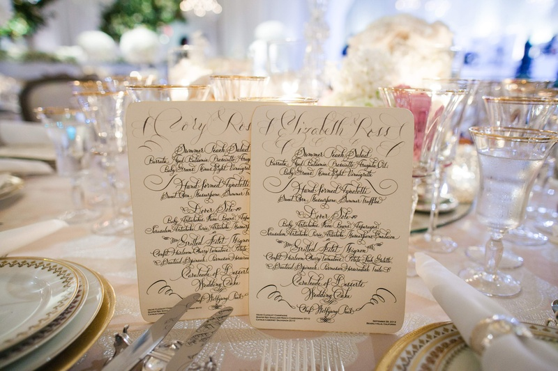 Wedding menu cards with calligraphy and guest names