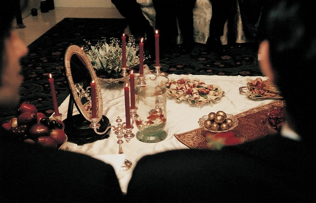 Persian wedding ceremony items and mirror