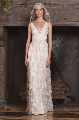 Claire Pettibone Four Seasons Couture Collection lace v-neck sheath bridal gown