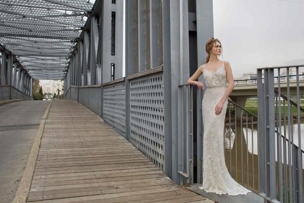 Limor Rosen 2017 Norma wedding dress blouson top with sheath skirt Urban Dreams Collection