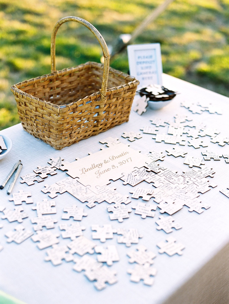 Wedding reception guestbook alternative puzzle with couple names and wedding date puzzle piece