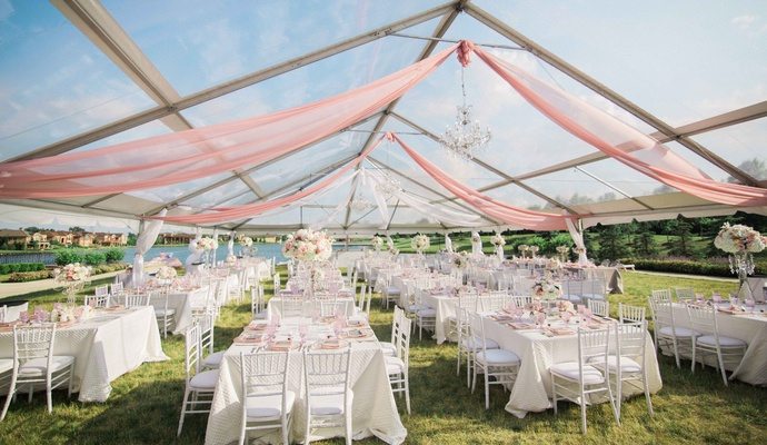 outdoor wedding reception tented wedding clear tent decorated with blush fabric ... & Catholic Ceremony + Romantic u0026amp; Modern Outdoor Wedding ...
