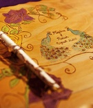 Engraved and colored wooden guestbook