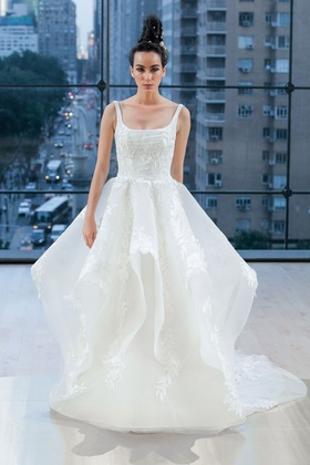 Ines Di Santo Fall 2018 bridal collection scoop neck ball gown with natural waist and appliques