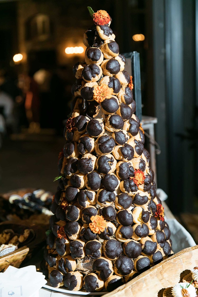 wedding confection instead of cake croquembouche french pastries pastry balls in cone shape triangle
