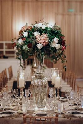 Suzanna Villarreal and Alex Wood LA Dodgers wedding reception centerpiece mercury glass fall decor