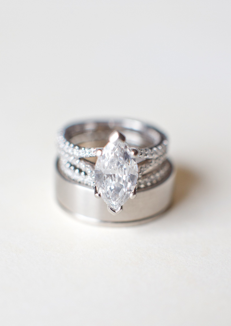 Wedding bands and split shank diamond ring