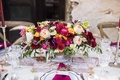 Foxtail Florals marsala wedding centerpiece and napkins
