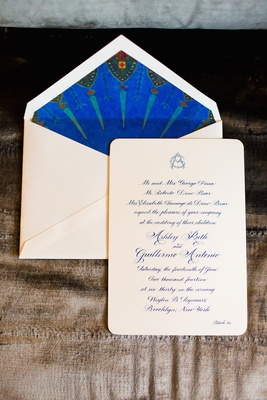Wedding invitation with rounded corners and lined envelope