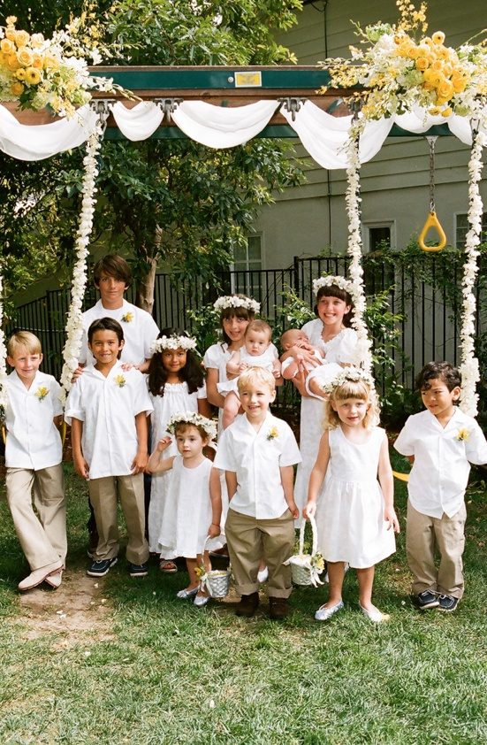 Twelve kids as wedding flower girls and ring bearers