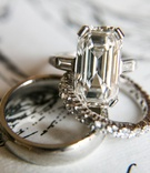 Wedding engagement ring emerald cut diamond engagement ring with side stones wedding bands diamonds