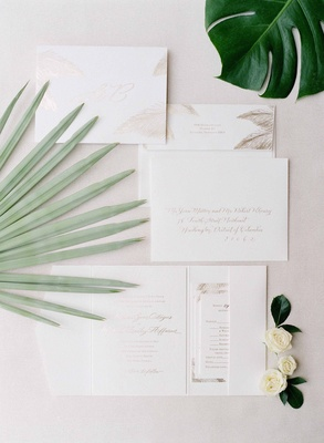 White and tan natural wedding invitations for destination wedding in key west with palm fronds