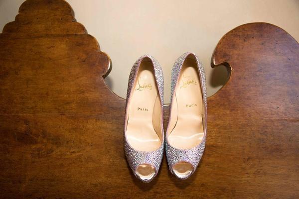 Peep-toe Christian Louboutin heels with rhinestones