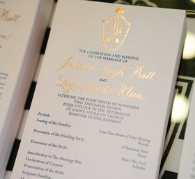 Navy blue and gold wedding ceremony program church with list of events