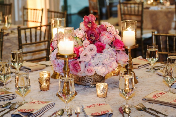 Low flower centerpiece at ballroom wedding reception