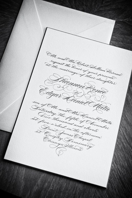 Black and white photo of simple script invite