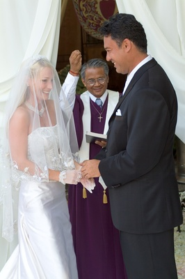 Ron Darling, former pitcher for the NY Mets, and his bride at altar