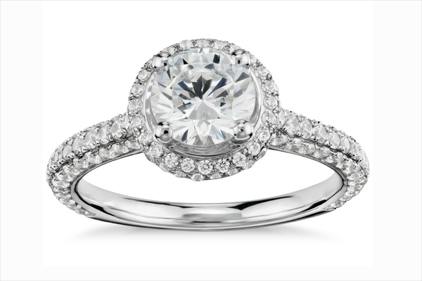 Monique Lhuillier for Blue Nile halo diamond engagement ring with pave diamond band