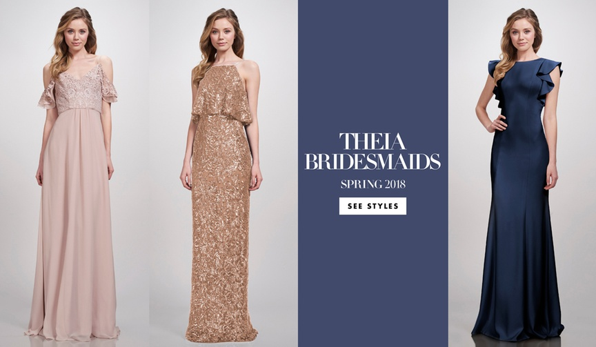 THEIA Bridesmaid Dresses Spring 2018 bold striking navy gold metallic dusty rose pink wedding woman