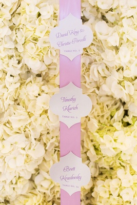 white hydrangea wall pink ribbon calligraphy escort cards