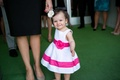 precious toddler flower girl in white and pink dress with white flower headband