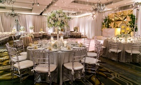 silver ivory color scheme ballroom wedding reception four seasons washington dc tall floral lights