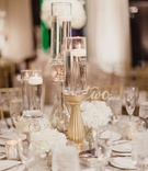 Wedding reception table low arrangement cluster of white flowers and candles