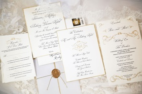 wedding invitation suite white gold black calligraphy monogram wax seal classic traditional