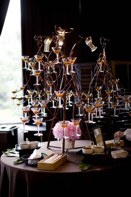martini glasses displayed in twisted wire sculpture