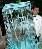 Large ice carving with couple's names