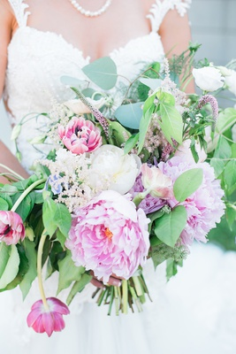 wildflower style bridal bouquet with peonies, eucalyptus, veronica flower