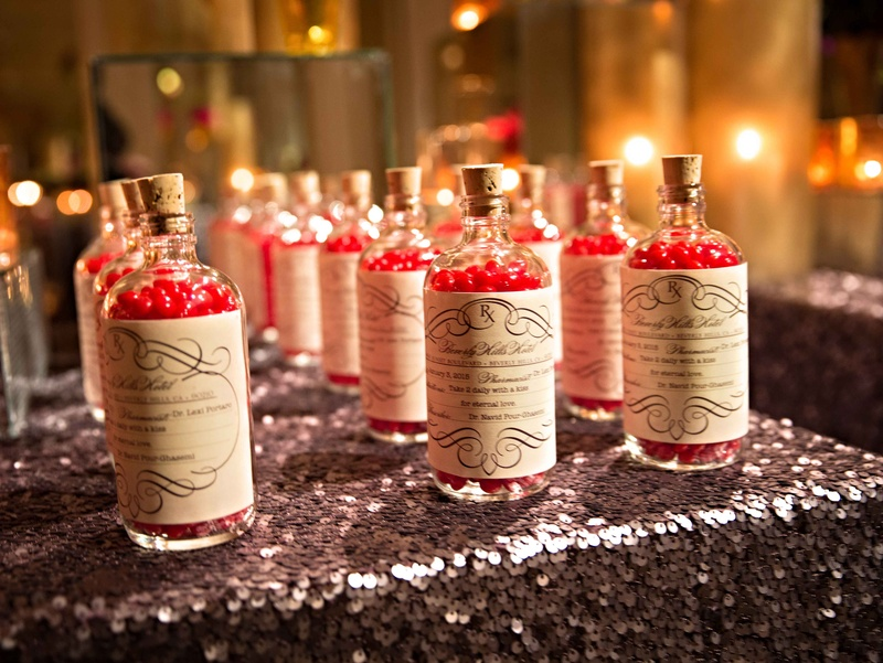 Wedding Favors On Sequin Table Red Hot Candies In Vintage Prescription Bottle For Doctor