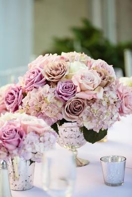 Wedding reception centpiece of light puple and pastel pink roses, purple tinged hydrangeas