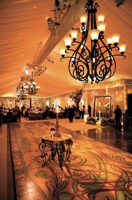 Wedding reception hand-painted dance floor