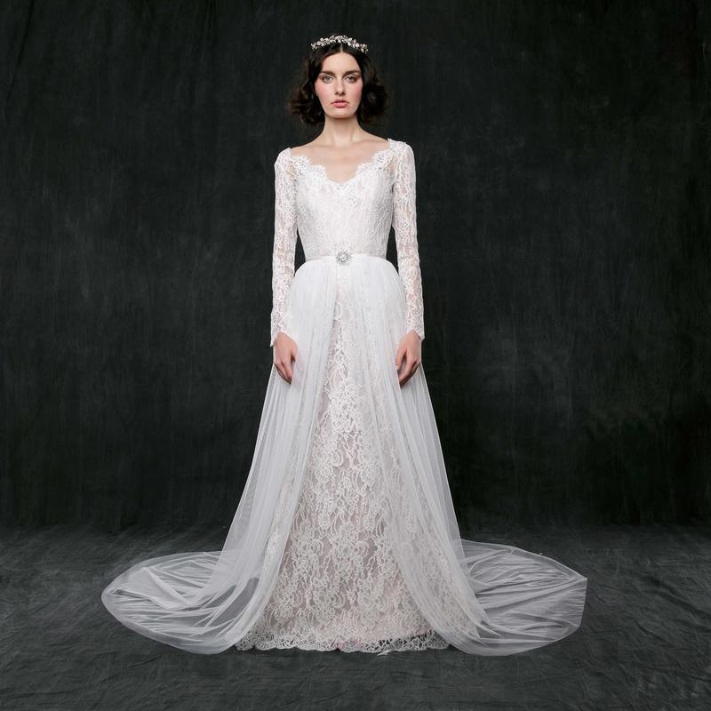 Wedding dresses photos morning glory by sareh nouri for Wedding dress with overskirt