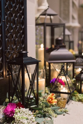 black lanterns greenery colorful blossoms ceremony altar decor vintage art institute of dayton ohio
