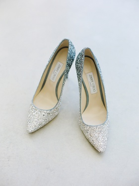 JIMMY CHOO Women's Romy 100 Ombré Glitter Pointed Toe Pumps in silver/blue