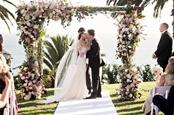 bride in anne barge, groom in hugo boss, bel air bay club wedding ceremony oceanview, chuppah blush