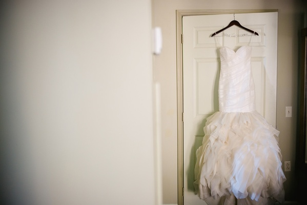 Strapless wedding dress with ruffled skirt